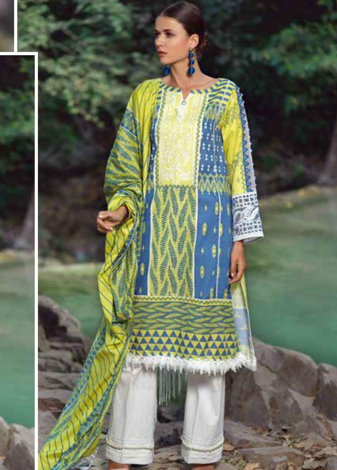 Ittehad Textiles Embroidered Lawn Unstitched 3 Piece Suit ITE20SL LIME PUNCH - Summer Collection