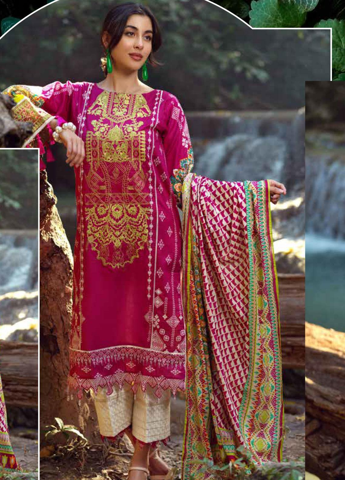 Ittehad Textiles Embroidered Lawn Unstitched 3 Piece Suit ITE20SL PINK BLUSH - Summer Collection