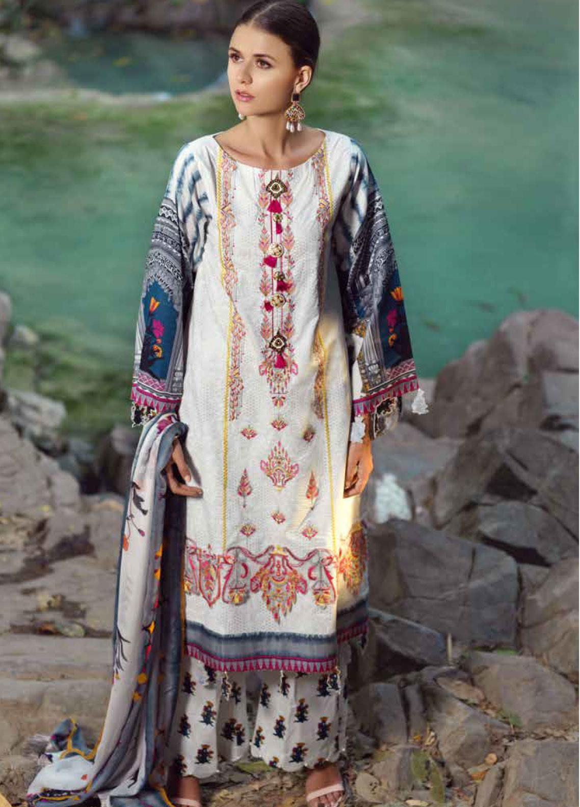 Ittehad Textiles Embroidered Lawn Unstitched 3 Piece Suit ITE20SL WHITE FLORAL - Summer Collection