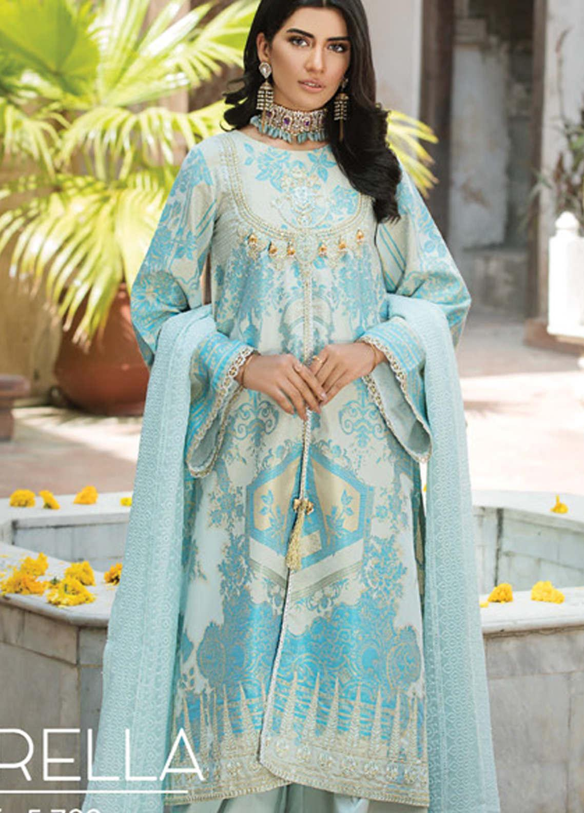 Ittehad Textiles Embroidered Jacquard Unstitched 3 Piece Suit ITD20F 04 Fiorella - Spring / Summer Collection
