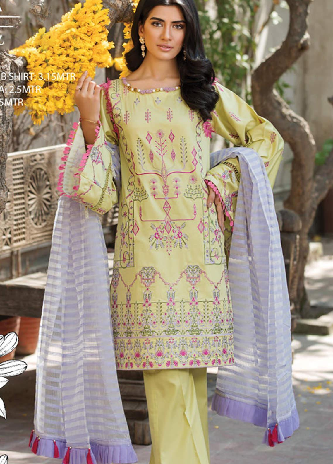 Ittehad Textiles Embroidered Cotton Satin Unstitched 3 Piece Suit ITD20F 06 Oriana - Spring / Summer Collection