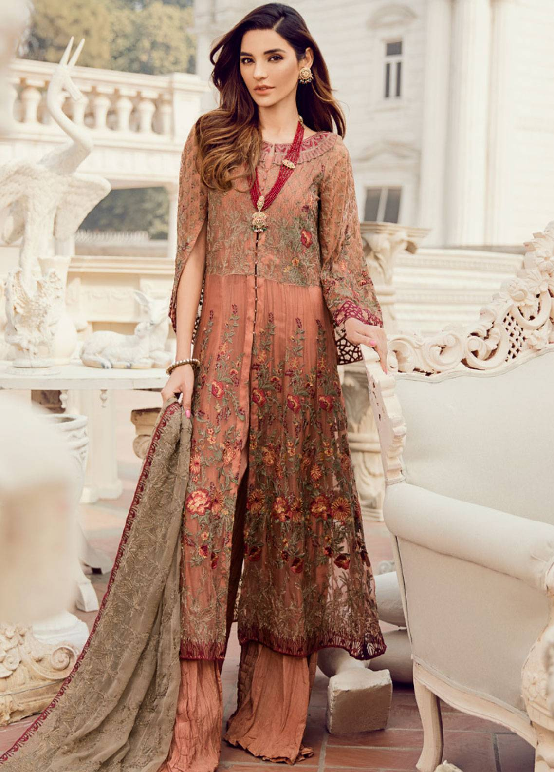dc7112cf79 Iznik Embroidered Chiffon Unstitched 3 Piece Suit IC19CC 08 Sunset Hues -  Luxury Collection