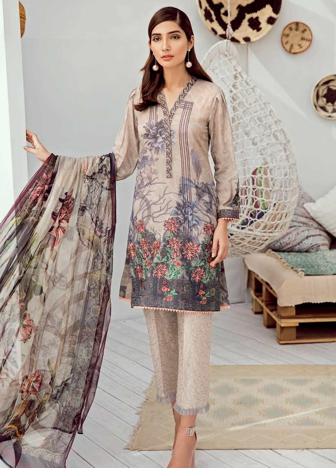 Iznik Chinon Embroidered Lawn Unstitched 3 Piece Suit IZC19-L3 02 EARL GREY - Mid Summer Collection