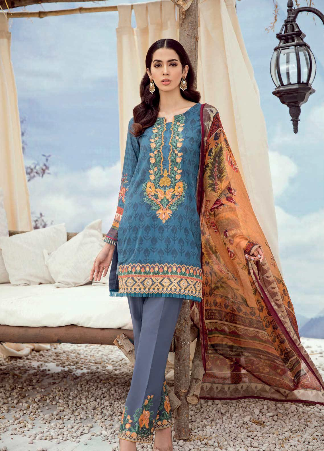 Iznik Chinon Embroidered Lawn Unstitched 3 Piece Suit IZC19-L3 03 FAIENCE - Mid Summer Collection