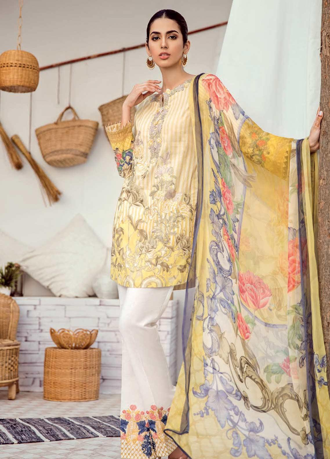 Iznik Chinon Embroidered Lawn Unstitched 3 Piece Suit IZC19-L3 04 PASTER YELLOW - Mid Summer Collection