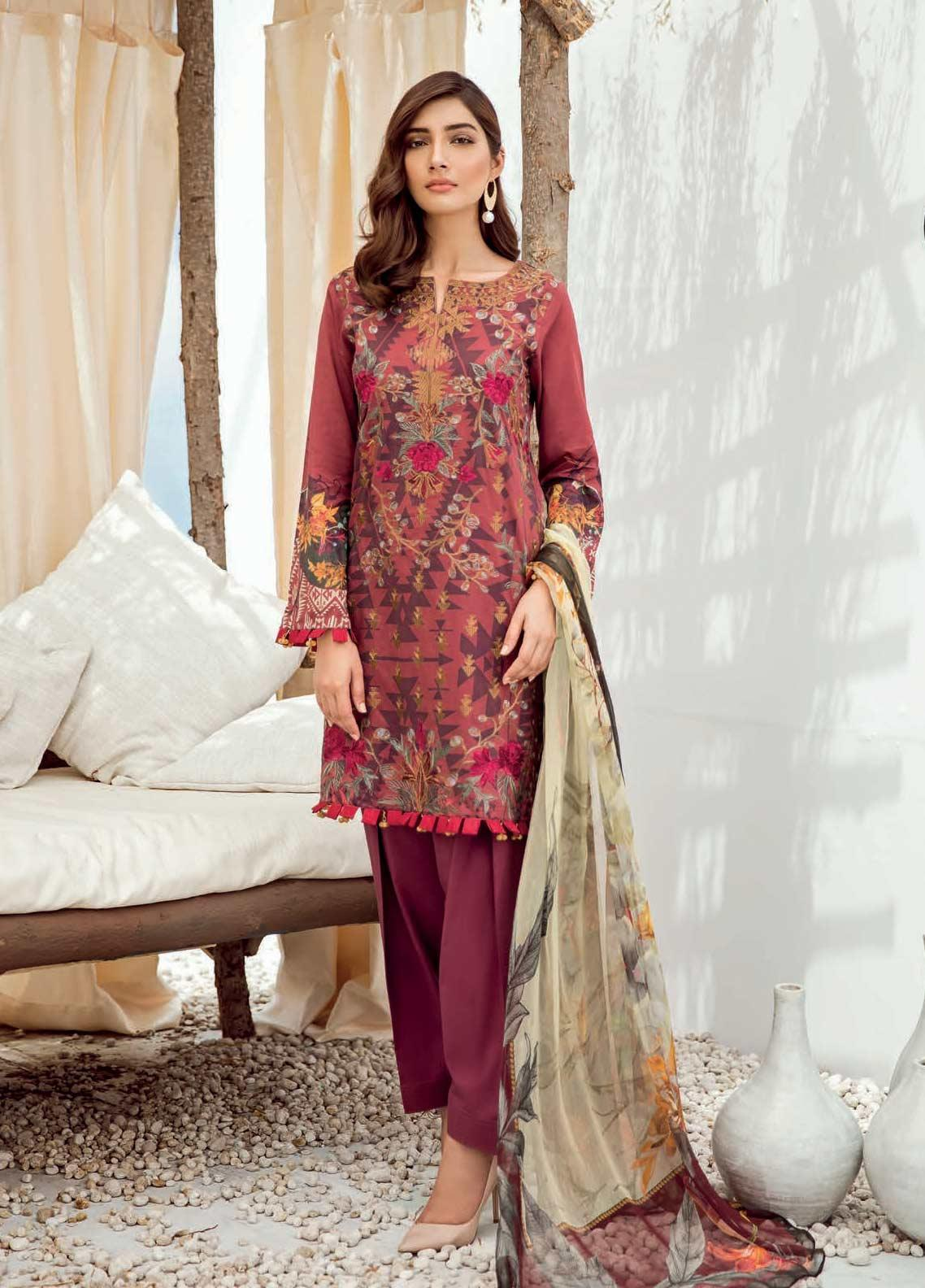 fecd9a7345 Iznik Chinon Embroidered Lawn Unstitched 3 Piece Suit IZC19-L3 06 BARN RED  - Mid