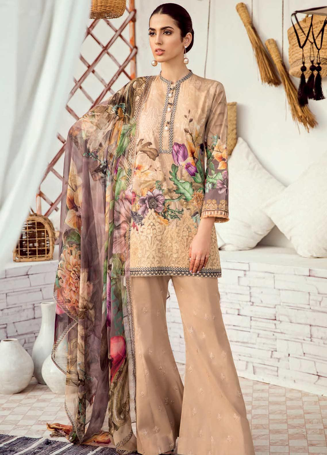 abd1ae0d76 Iznik Chinon Embroidered Lawn Unstitched 3 Piece Suit IZC19-L3 08 WARM SAND  - Mid