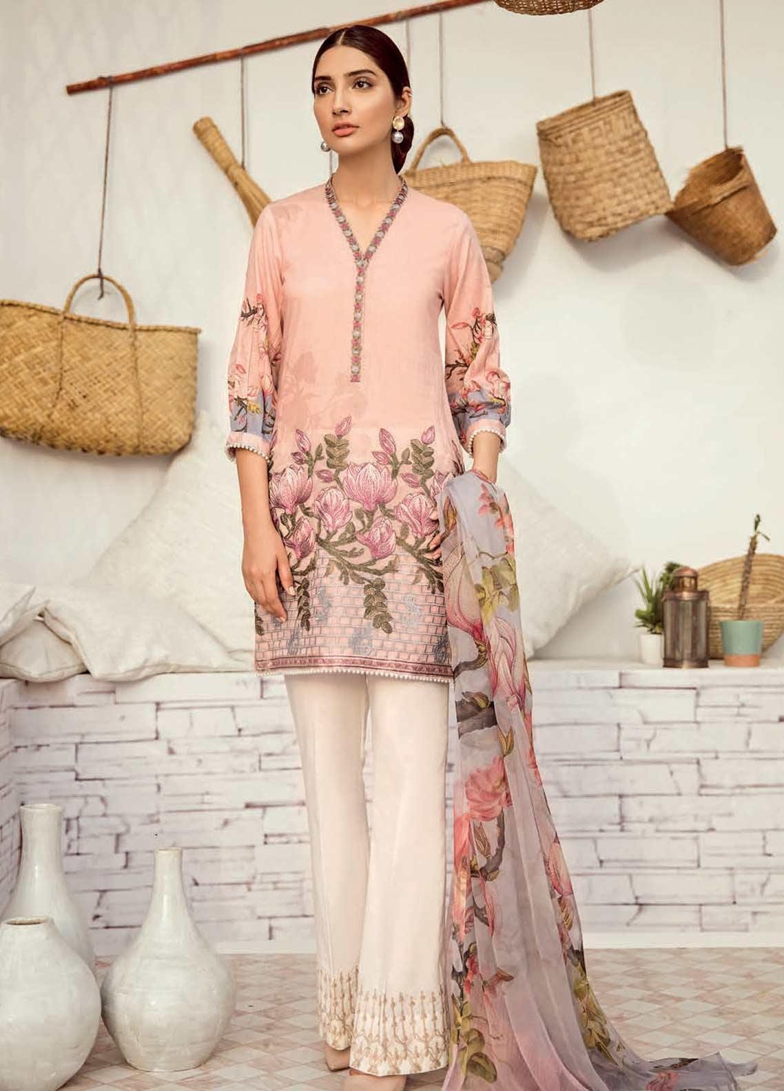Iznik Chinon Embroidered Lawn Unstitched 3 Piece Suit IZC19-L3 12 MISTY ROSE - Mid Summer Collection