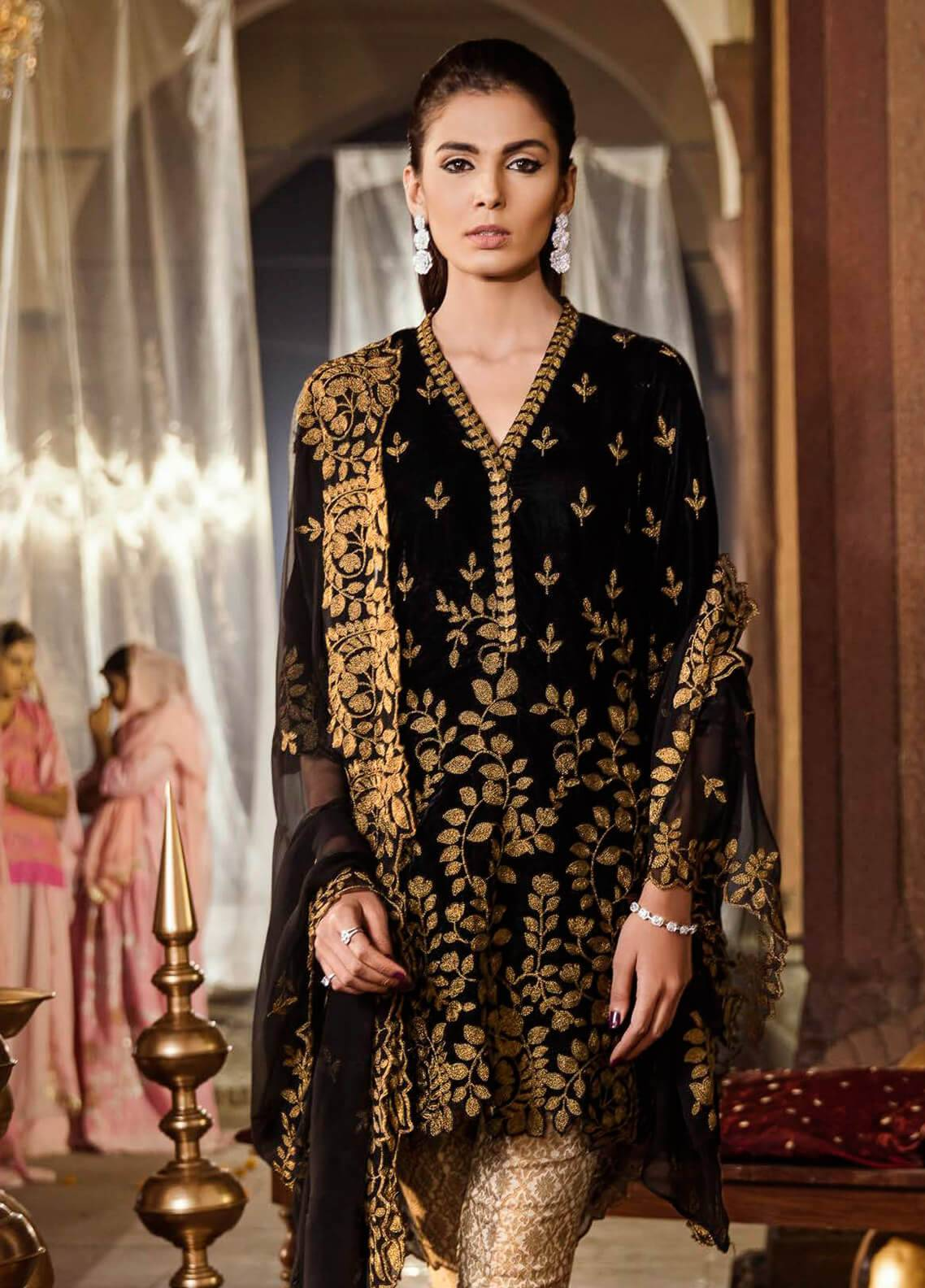 Iznik Embroidered Velvet Unstitched 3 Piece Suit IZ18V 10 MOONLESS NIGHT - Festive Velvet Collection