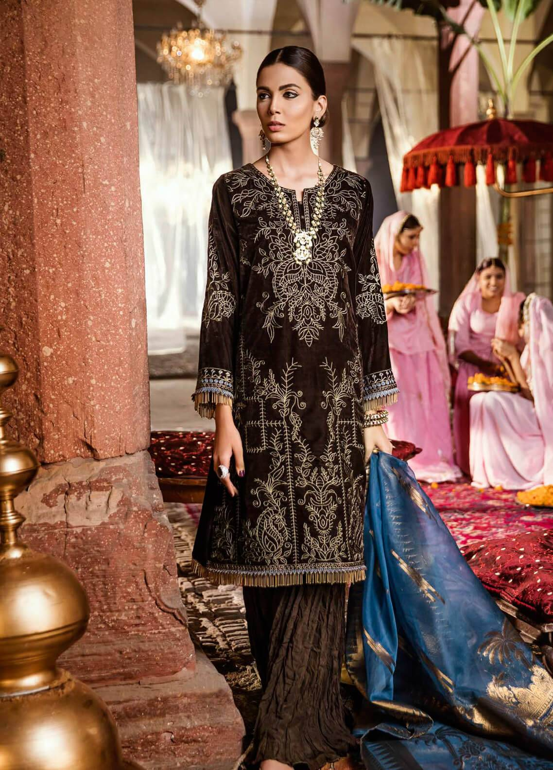 Iznik Embroidered Velvet Unstitched 3 Piece Suit IZ18V 6 CHOCOLATE BROWN - Festive Velvet Collection