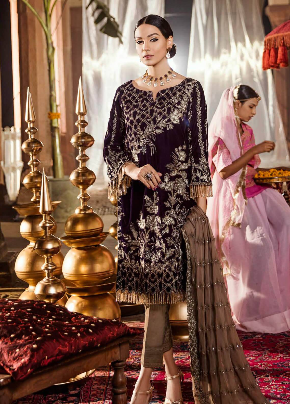 Iznik Embroidered Velvet Unstitched 3 Piece Suit IZ18V 7 MAJESTIC PURPLE - Festive Velvet Collection
