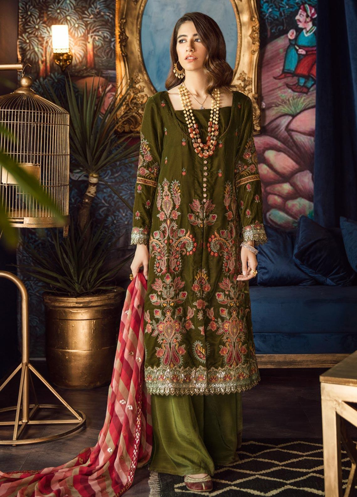 Iznik Embroidered Velvet Unstitched 3 Piece Suit IZ19VF 03 Seaweed - Festive Collection
