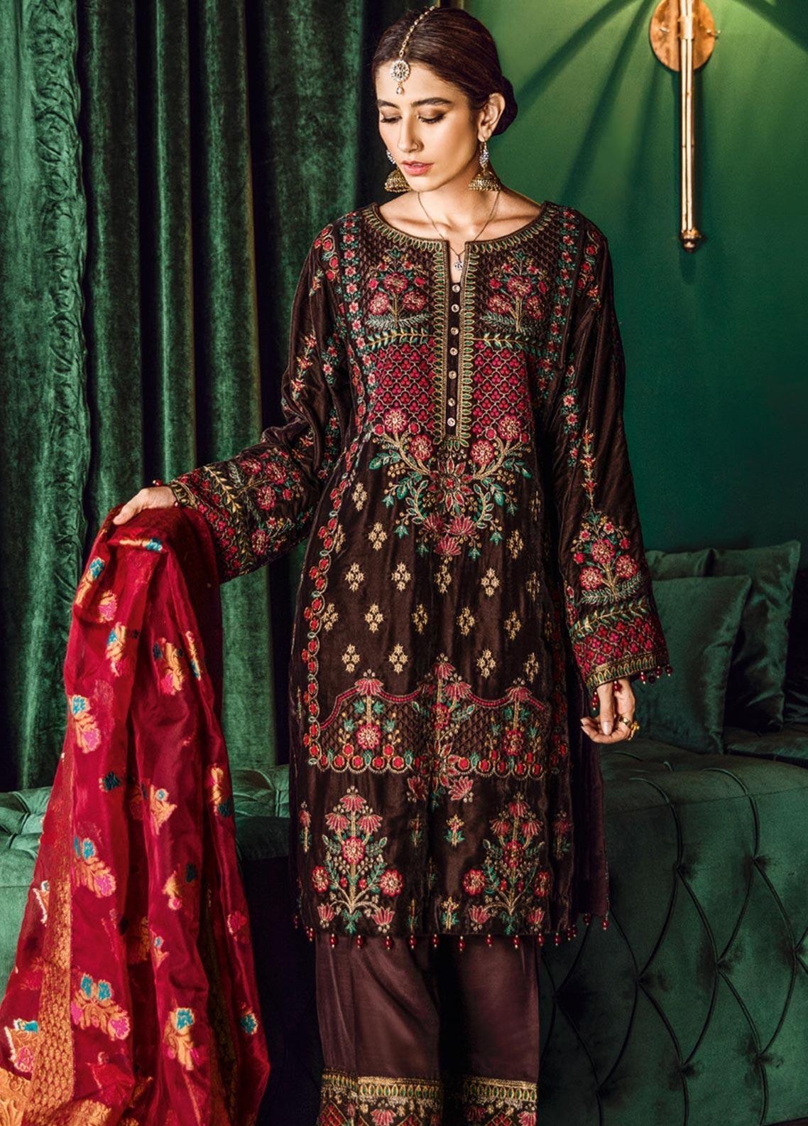 Iznik Embroidered Velvet Unstitched 3 Piece Suit IZ19VF 04 Florence Sangria - Festive Collection