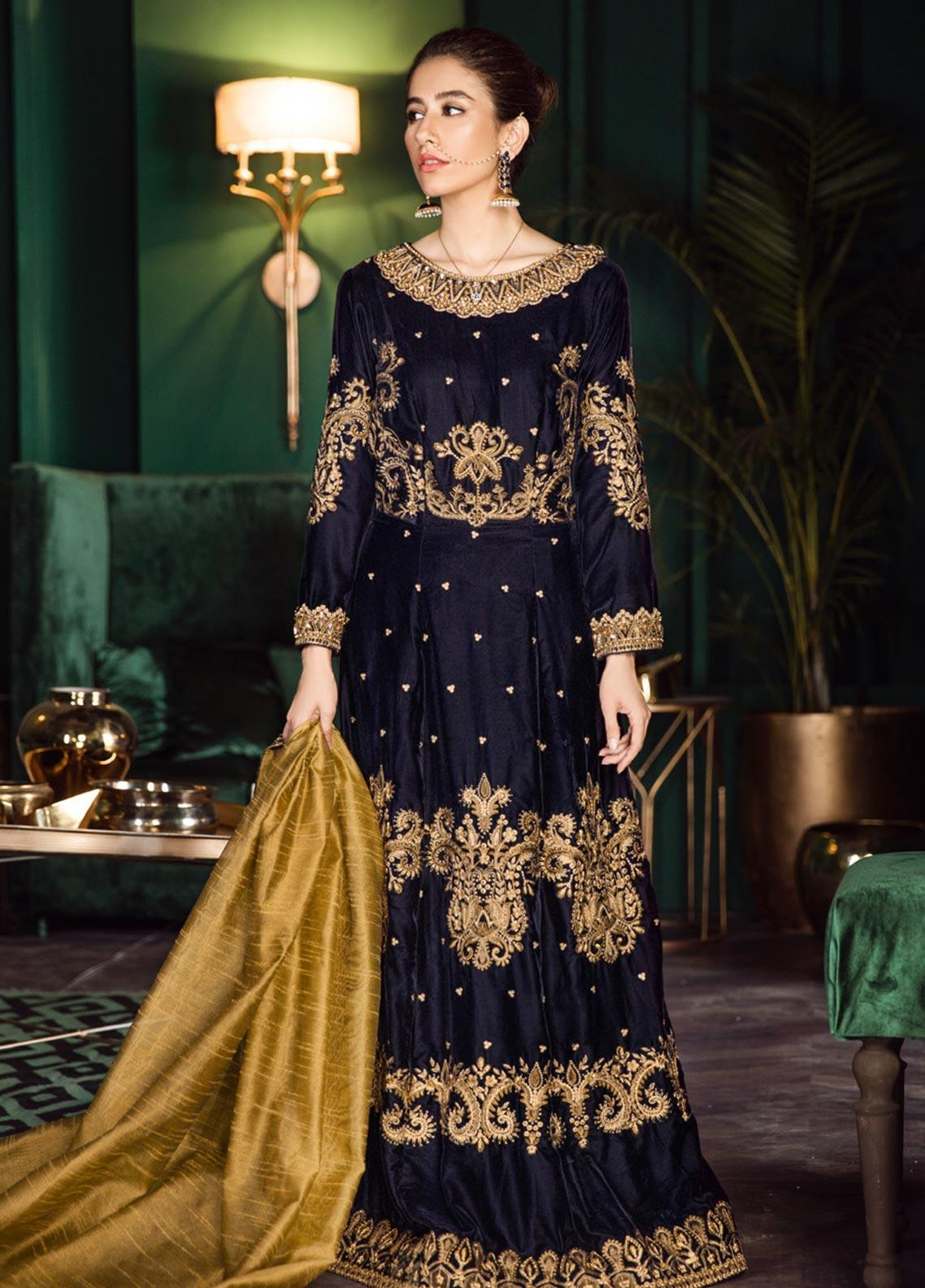 Iznik Embroidered Velvet Unstitched 3 Piece Suit IZ19VF 05 Midnight - Festive Collection
