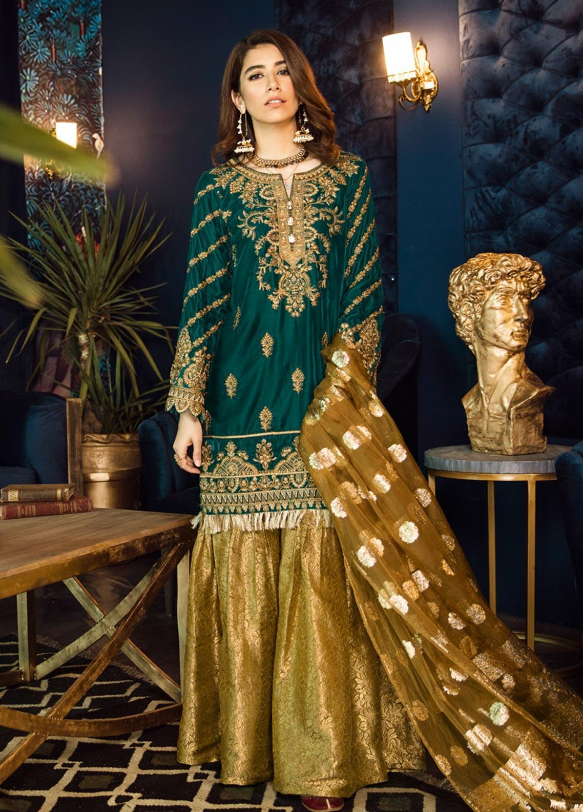 Iznik Embroidered Velvet Unstitched 3 Piece Suit IZ19VF 09 Deep Teal - Festive Collection
