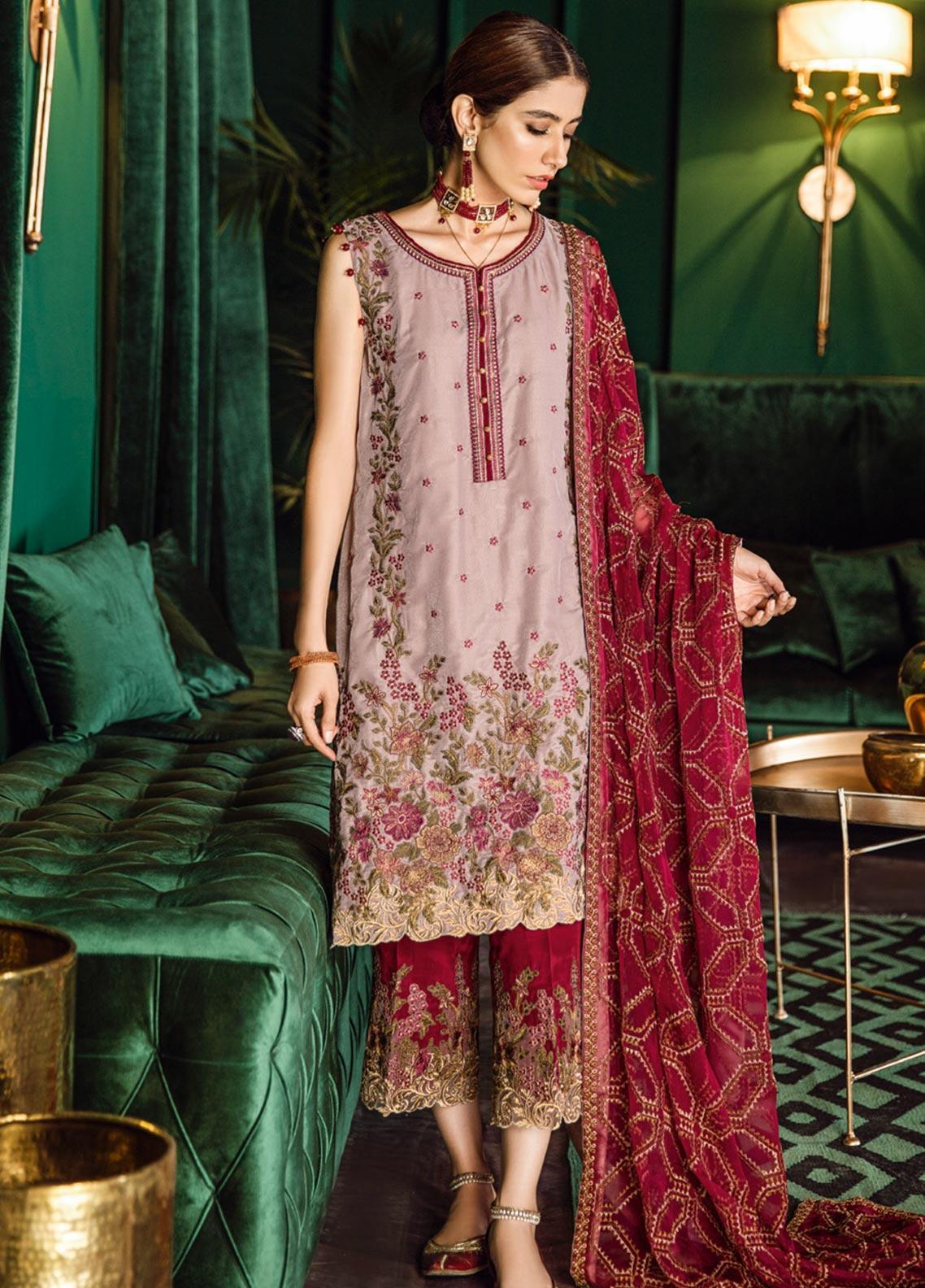 Iznik Embroidered Velvet Unstitched 3 Piece Suit IZ19VF 12 Umber Currant - Festive Collection
