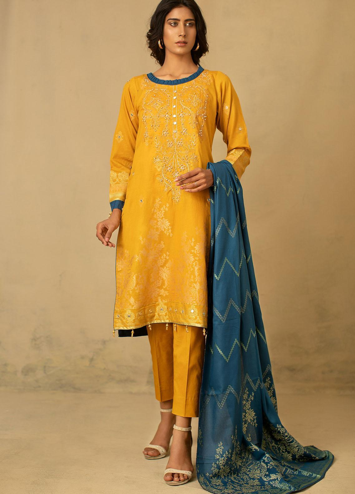 Jahan by AB Textiles Embroidered Jacquard Unstitched 3 Piece Suit AB21JCR 05 Jaune - Casual Collection