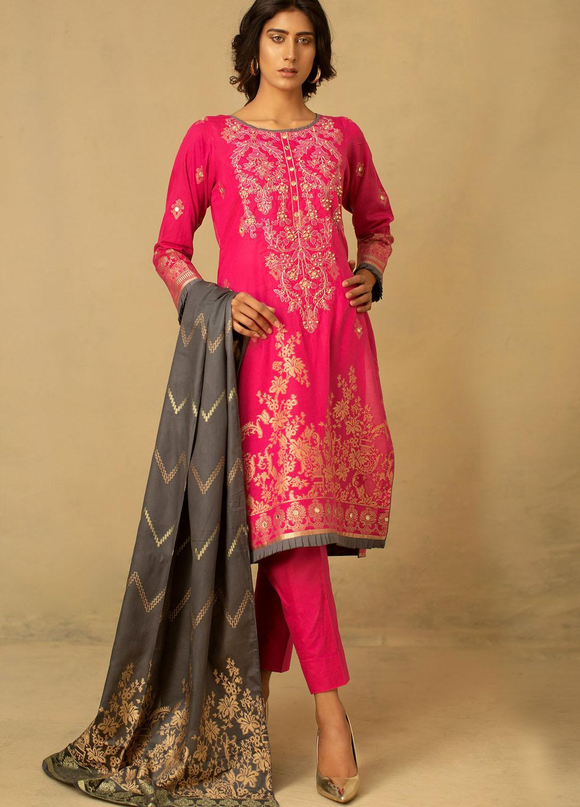 Jahan by AB Textiles Embroidered Jacquard Unstitched 3 Piece Suit AB21JCR 06 Rose - Casual Collection