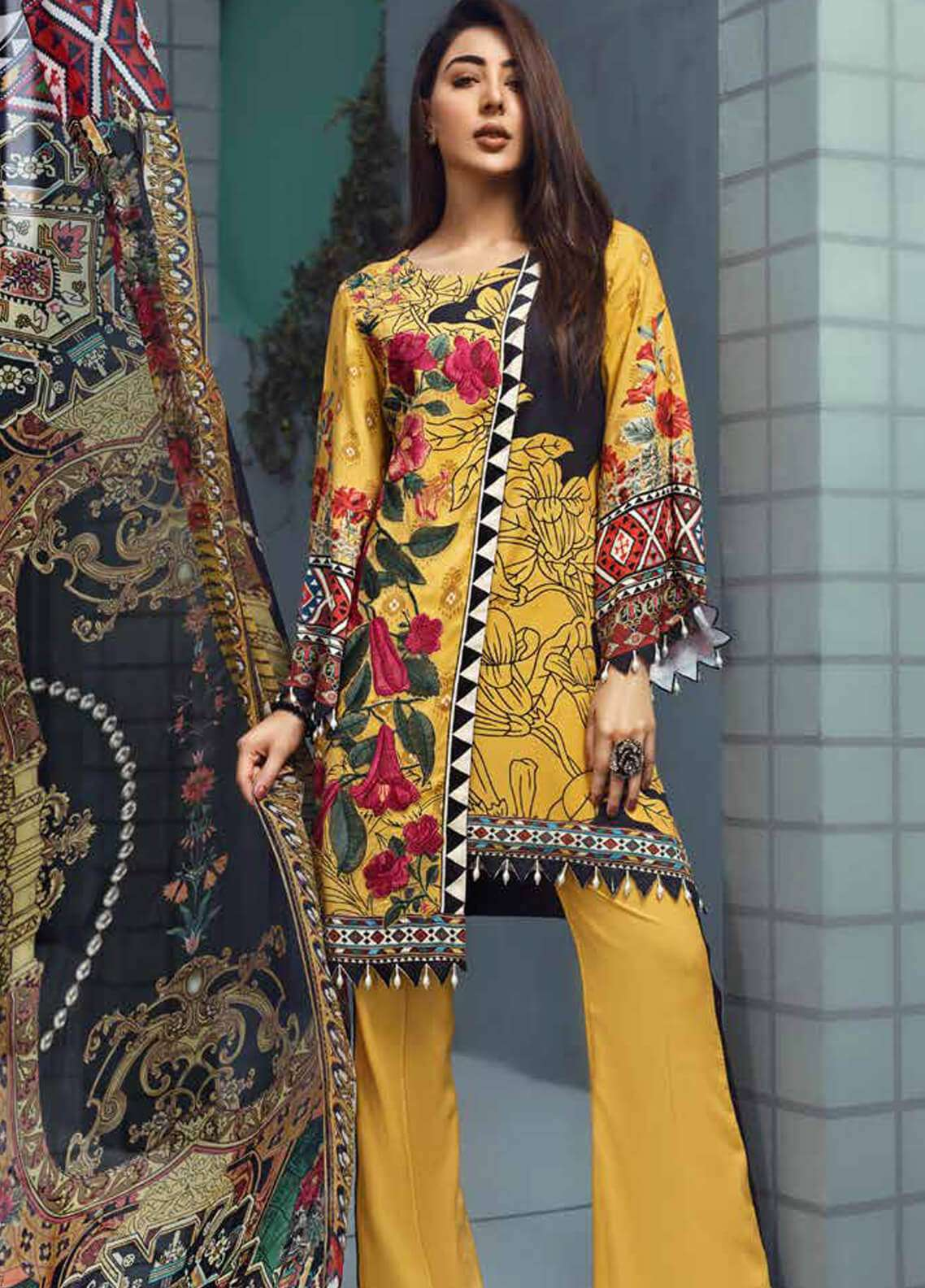 Jahanara Embroidered Linen Unstitched 3 Piece Suit JNW18L 02 - Luxury Collection