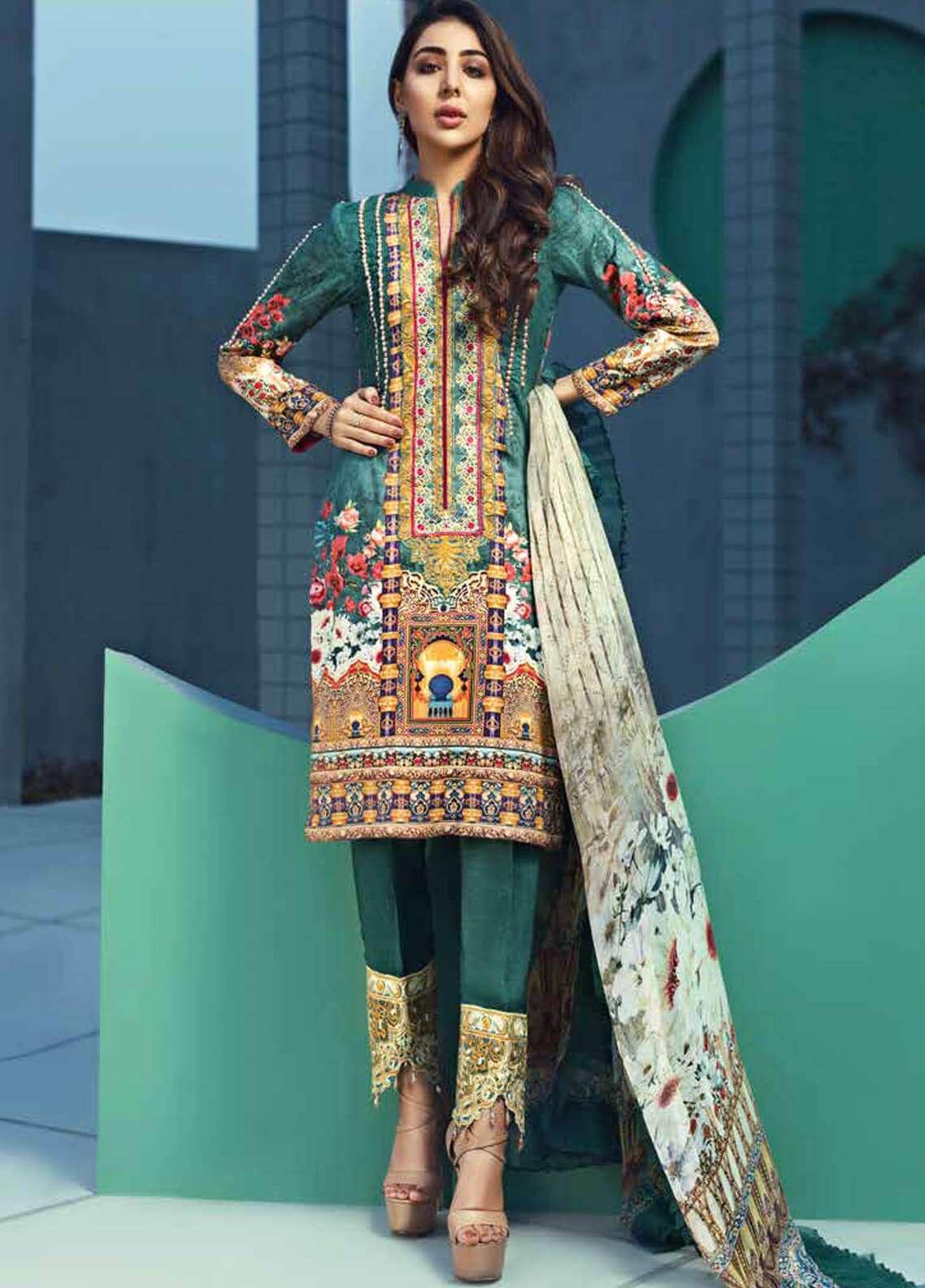 Jahanara Embroidered Linen Unstitched 3 Piece Suit JNW18L 04 - Luxury Collection