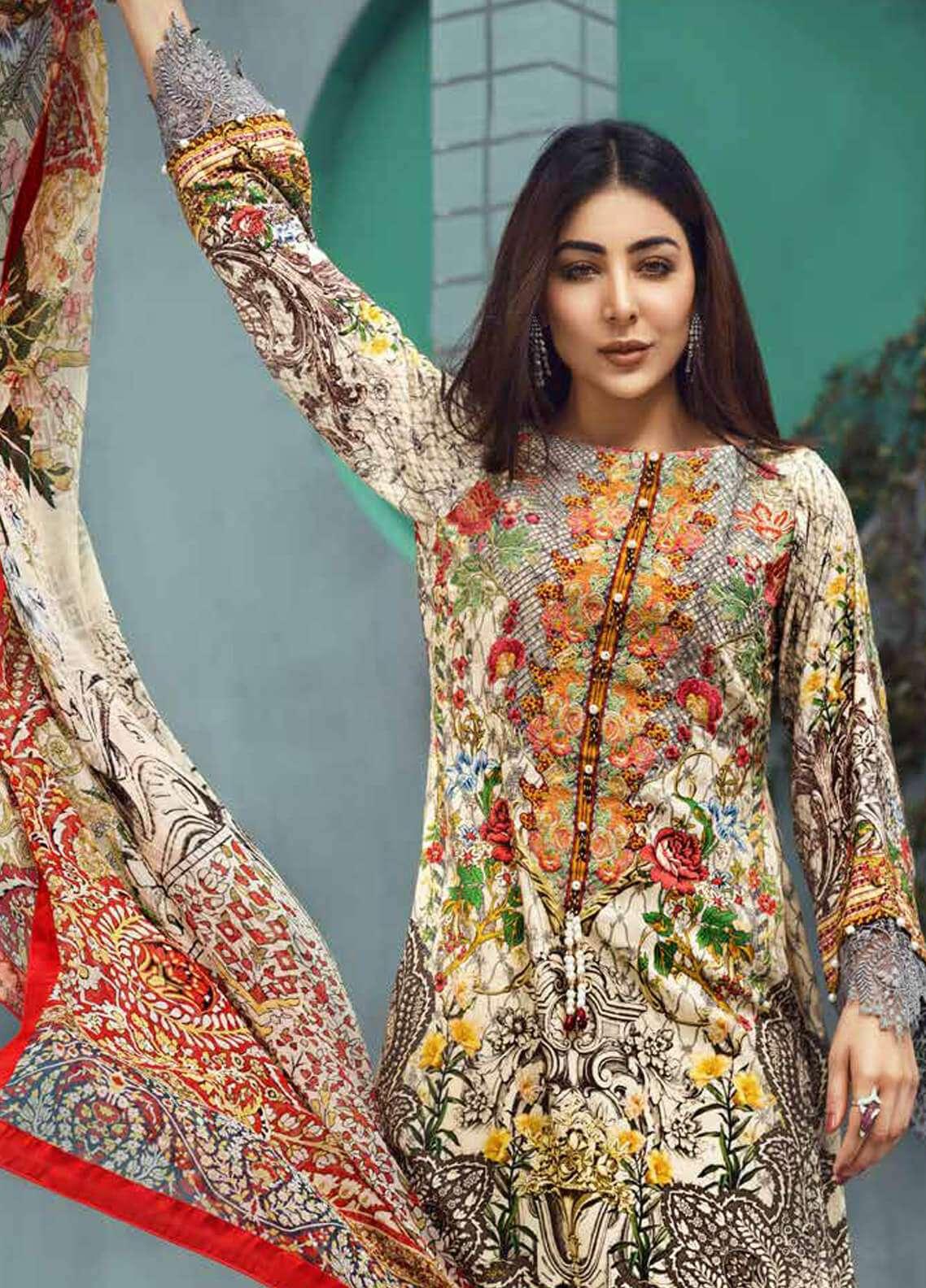 Jahanara Embroidered Linen Unstitched 3 Piece Suit JNW18L 06 - Luxury Collection