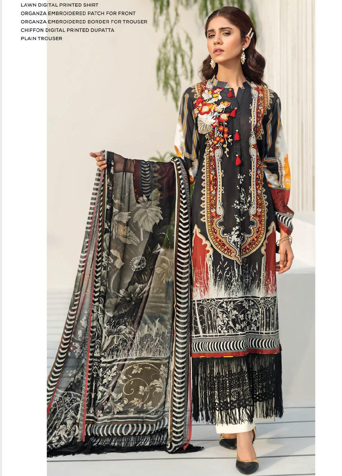 Janiya by Resham Ghar Embroidered Lawn Unstitched 3 Piece Suit JRG19-L2 02 - Mid Summer Collection