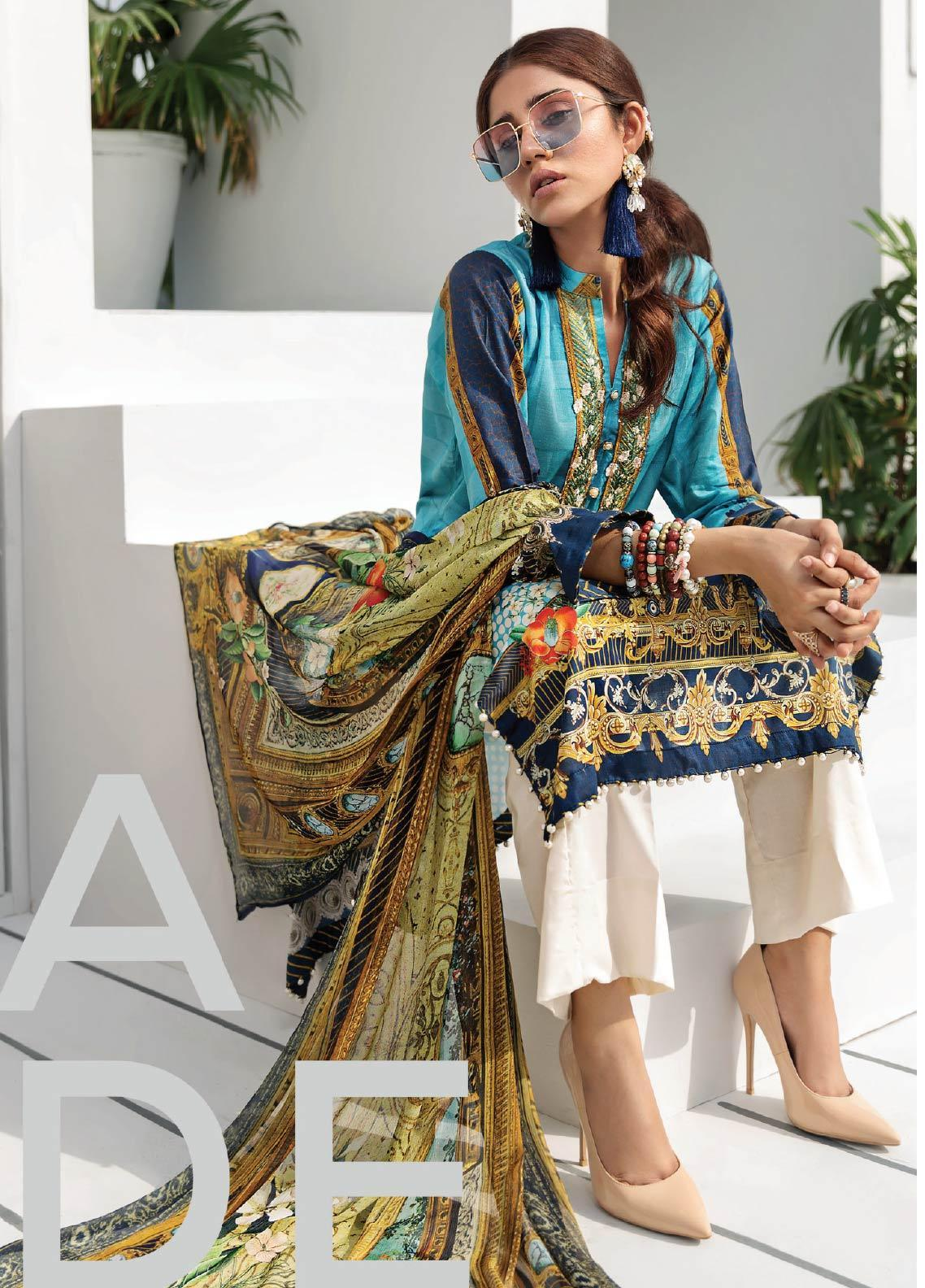 Janiya by Resham Ghar Embroidered Lawn Unstitched 3 Piece Suit JRG19-L2 03 - Mid Summer Collection