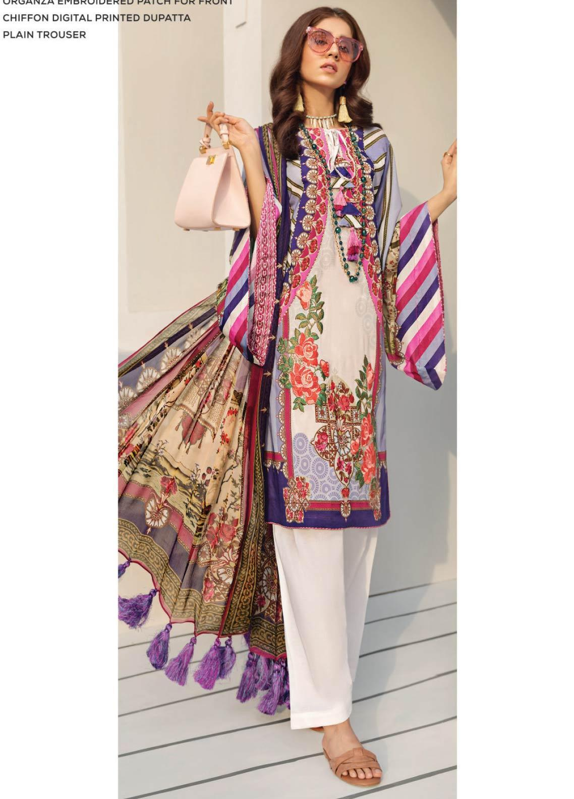 Janiya by Resham Ghar Embroidered Lawn Unstitched 3 Piece Suit JRG19-L2 04 - Mid Summer Collection