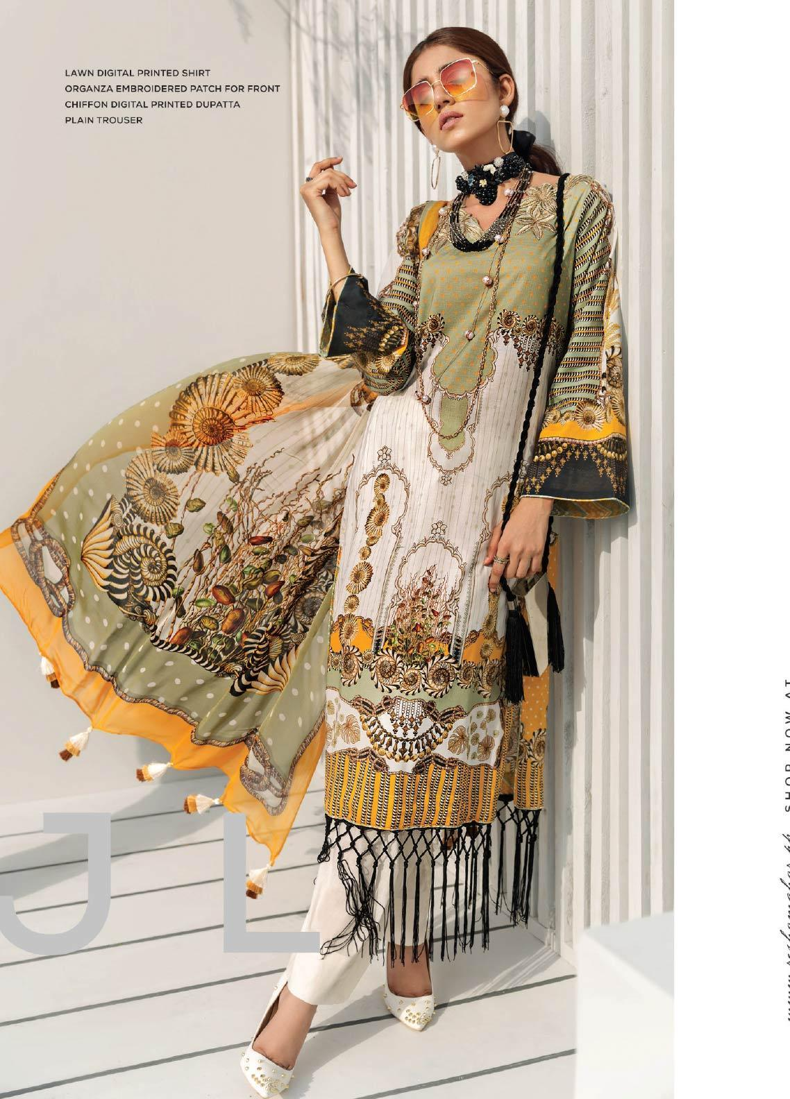 Janiya by Resham Ghar Embroidered Lawn Unstitched 3 Piece Suit JRG19-L2 07 - Mid Summer Collection