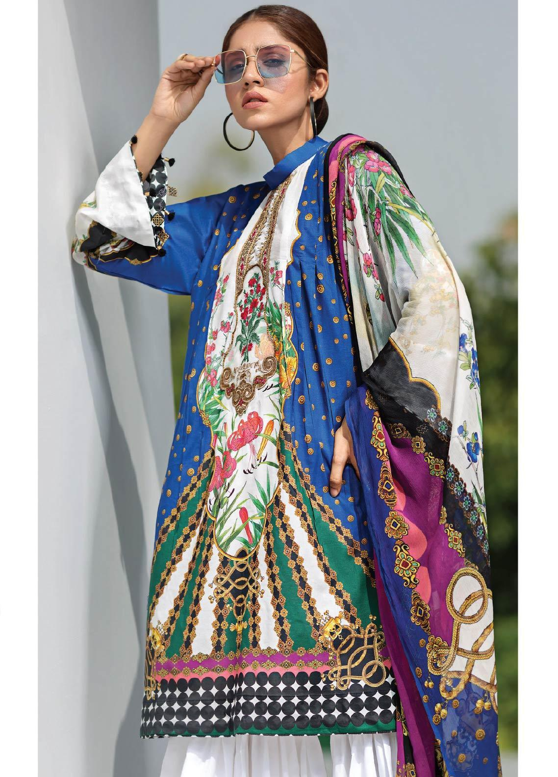Janiya by Resham Ghar Embroidered Lawn Unstitched 3 Piece Suit JRG19-L2 08 - Mid Summer Collection
