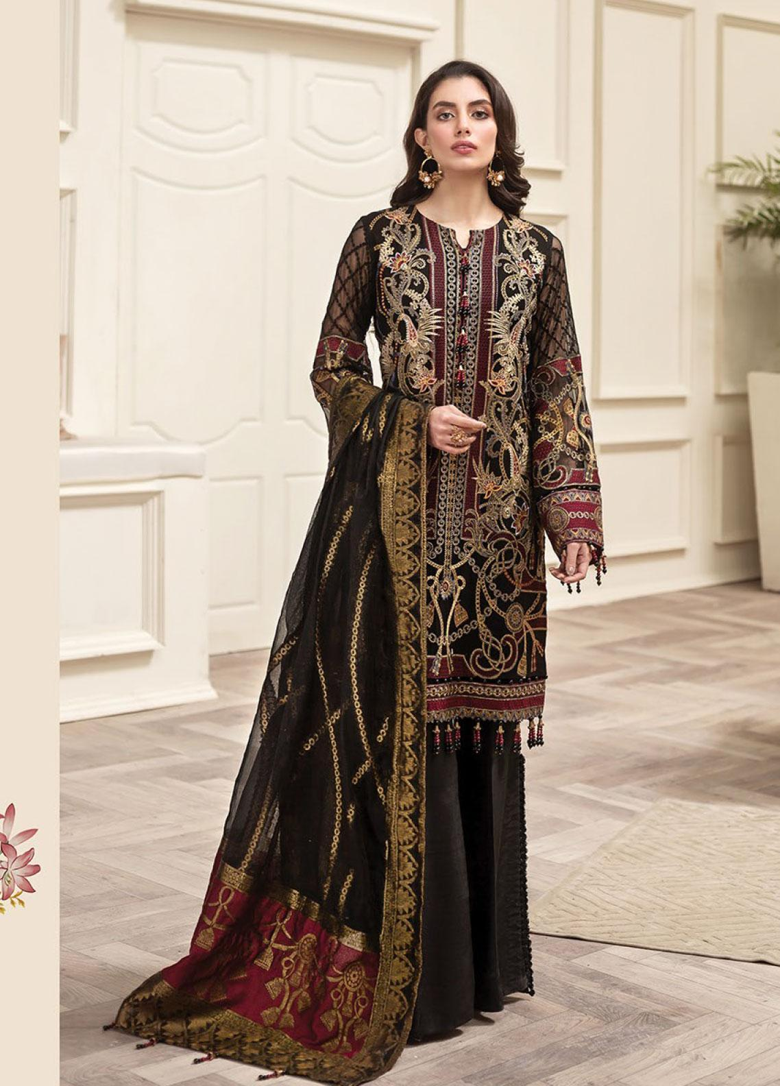 Jazmin Embroidered Chiffon Unstitched 3 Piece Suit JZ20AL 5 - Luxury Collection
