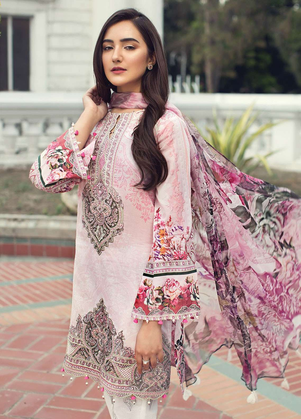 Jazmin Embroidered Lawn Unstitched 3 Piece Suit JIR19L 01 LILIANA - Spring / Summer Collection