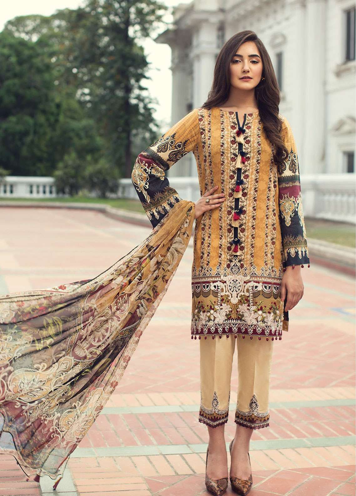 Jazmin Embroidered Lawn Unstitched 3 Piece Suit JIR19L 03 FARIE DUST - Spring / Summer Collection