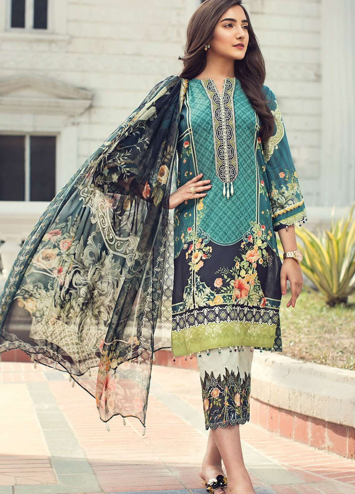 Jazmin Embroidered Lawn Unstitched 3 Piece Suit JIR19L 09 CORAL REEF - Spring / Summer Collection