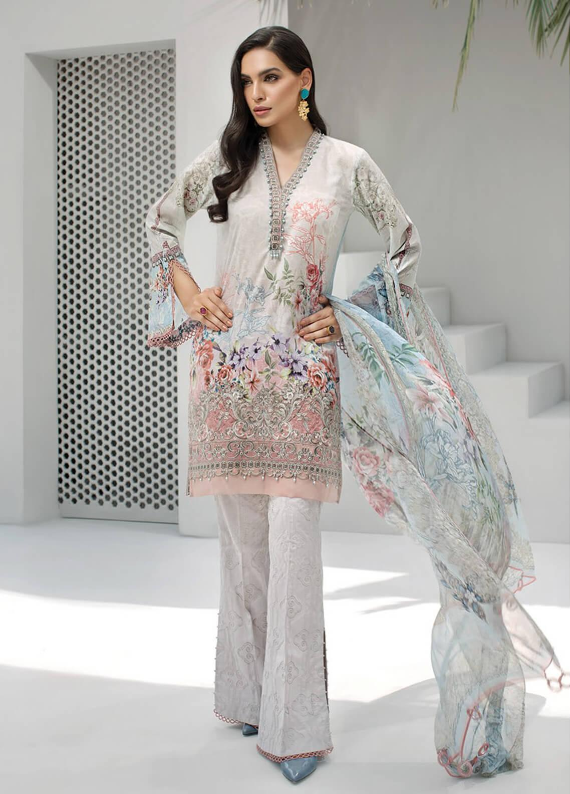 Jazmin Embroidered Lawn Unstitched 3 Piece Suit JIR19-L2 05 CELINE - Summer Collection
