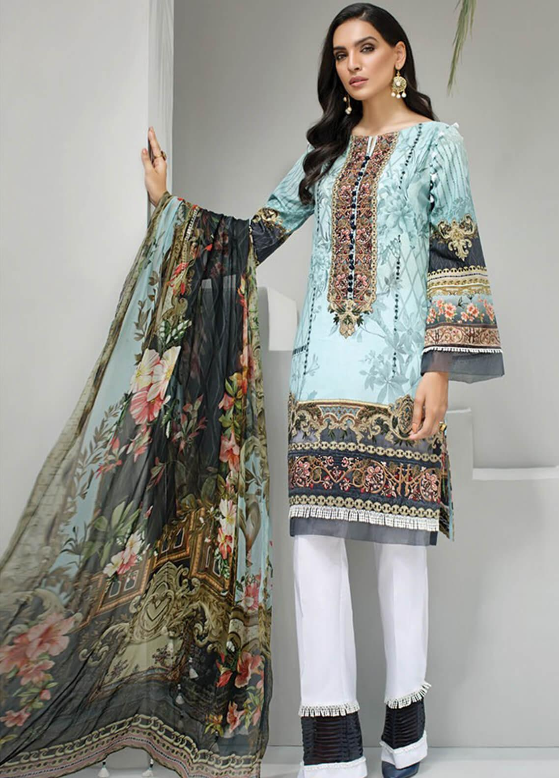 Jazmin Embroidered Lawn Unstitched 3 Piece Suit JIR19-L2 07 AQUA AZURE - Summer Collection