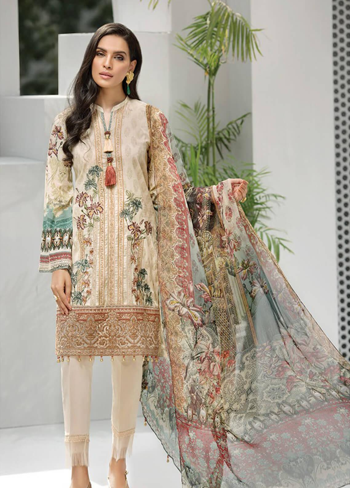 Jazmin Embroidered Lawn Unstitched 3 Piece Suit JIR19-L2 08 AMELIA - Summer Collection