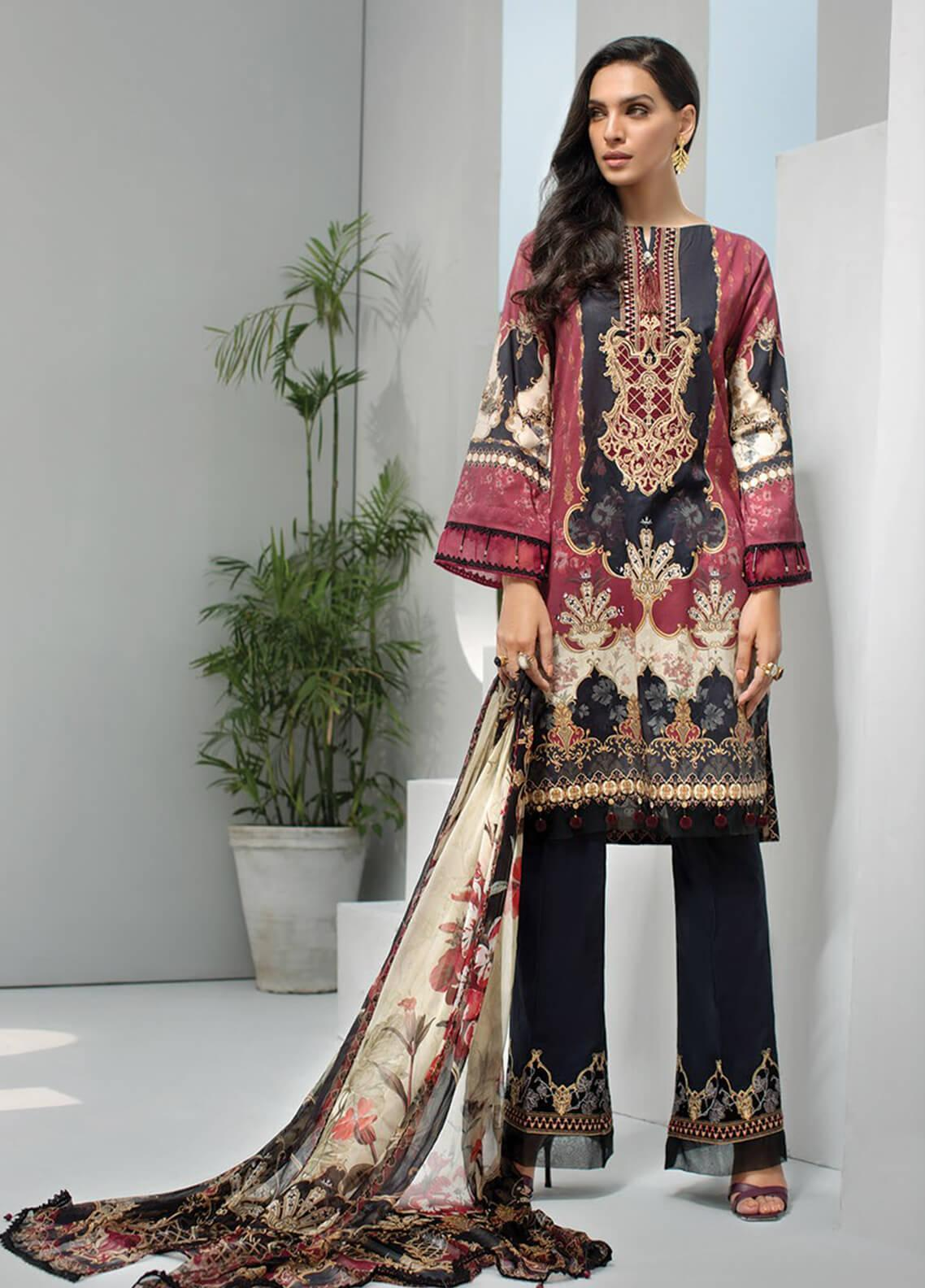 Jazmin Embroidered Lawn Unstitched 3 Piece Suit JIR19-L2 09 TURKISH TALE - Summer Collection