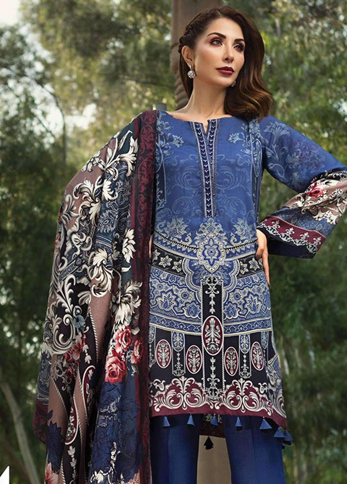 IRIS Embroidered Linen Unstitched 3 Piece Suit JIR18L 04 - Linen Linare Collection