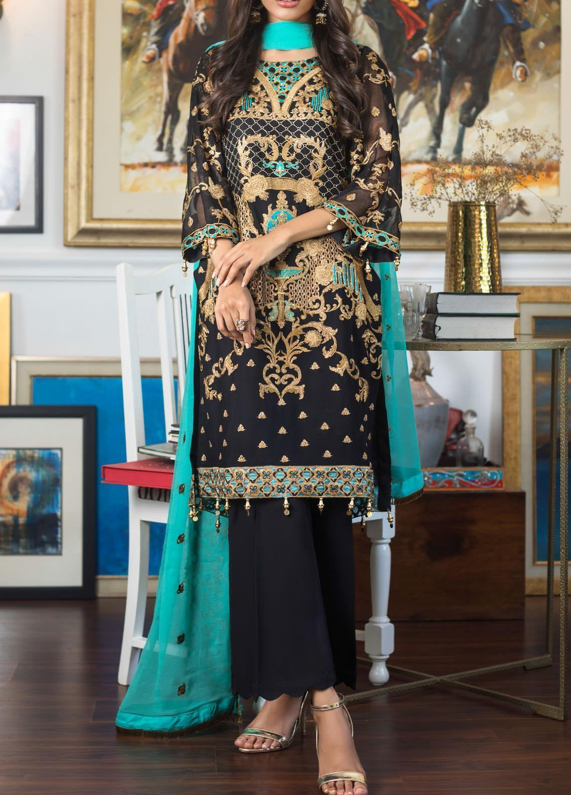 Jazmin by Zohan Textiles Embroidered Chiffon Unstitched 3 Piece Suit ZT20PC 10A - Luxury Collection