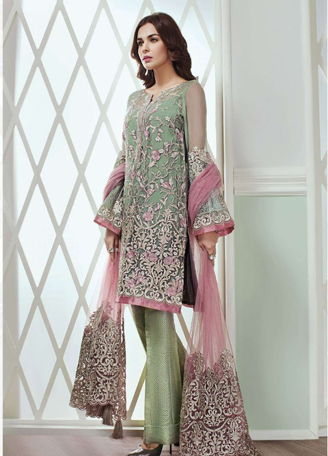 b8345ed6ee Baroque Embroidered Chiffon Unstitched 3 Piece Suit JZ18C 01 DARK GREEN -  Festive Collection