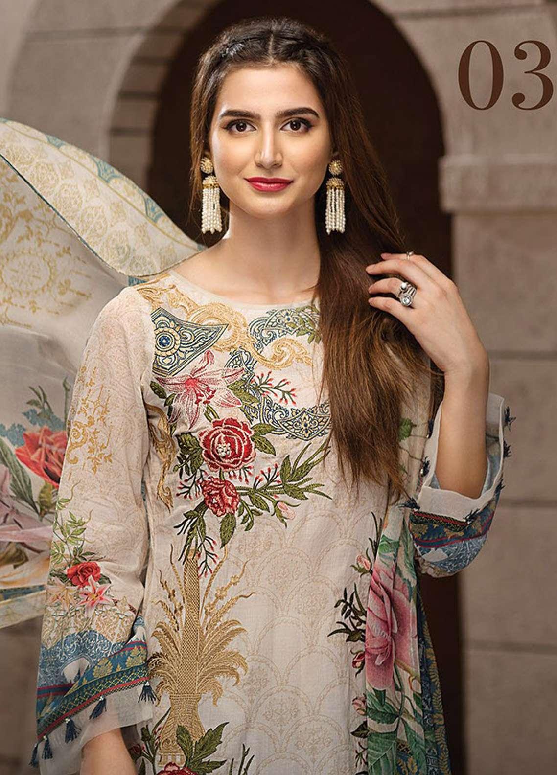 8e799dc14 Jazmin Embroidered Lawn Unstitched 3 Piece Suit JZ18E 03 - Eid Collection
