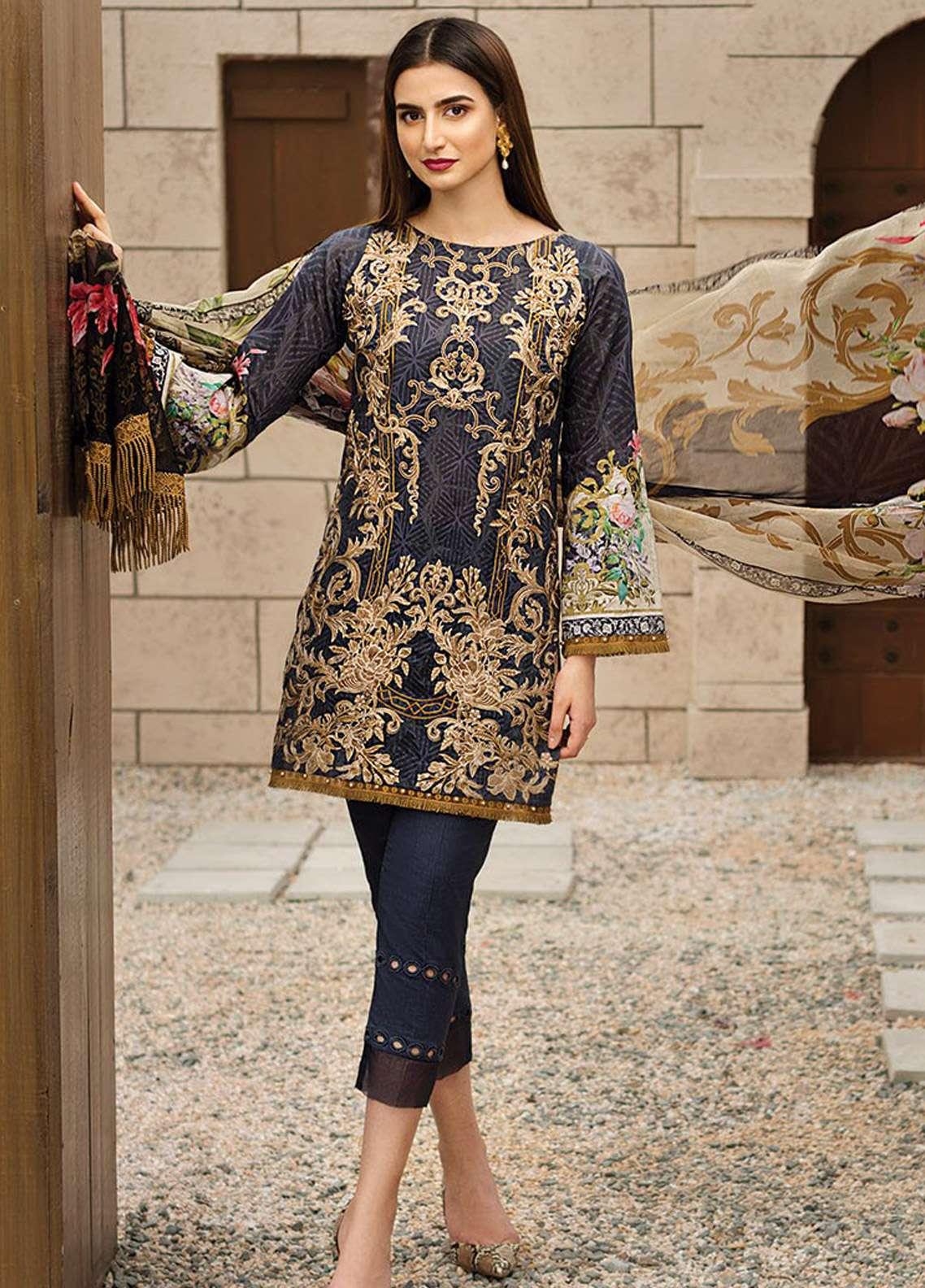 b86e81b23 Jazmin Embroidered Lawn Unstitched 3 Piece Suit JZ18E 06 - Eid Collection