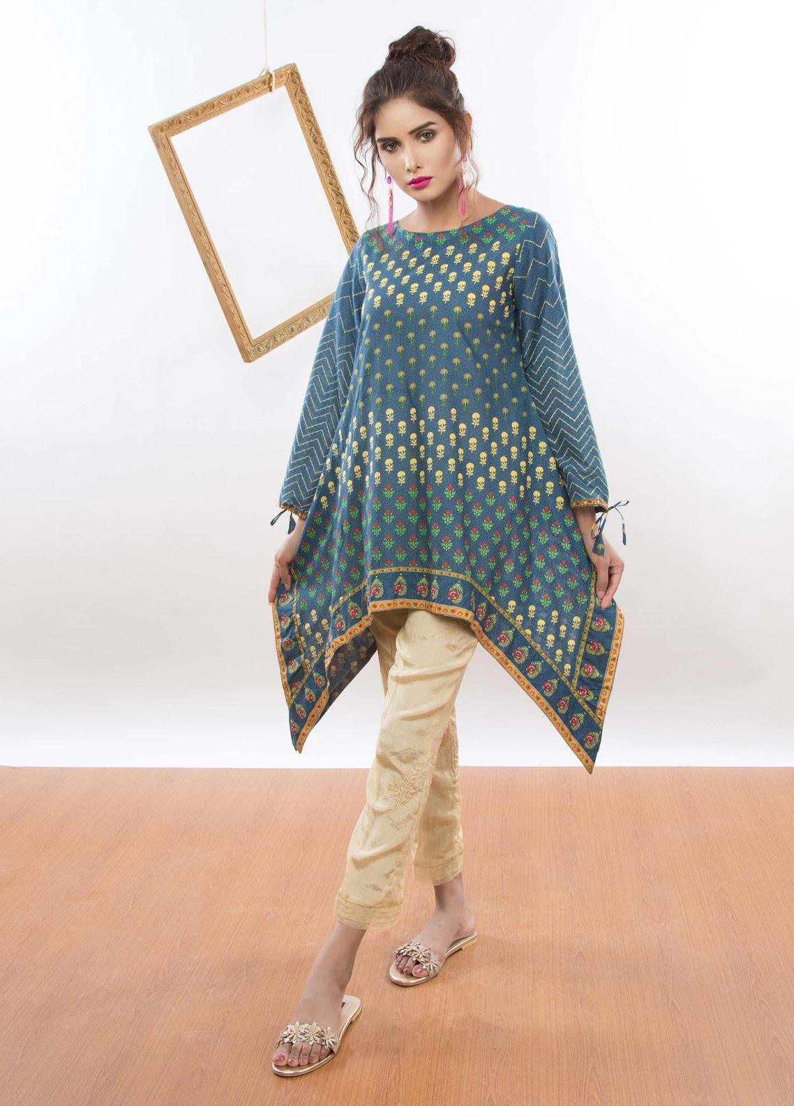 Kaara Embroidered Lawn Stitched Kurtis KR-5004 Navy Blue