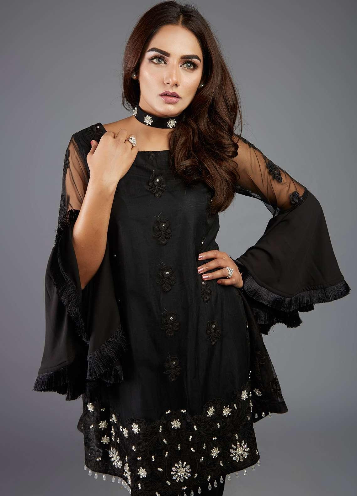 Kaara Embroidered Chiffon Stitched Kurtis KR481 Black