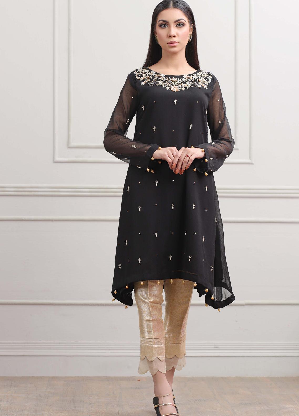 Kaara Formal Chiffon Stitched Kurti KR550 Black