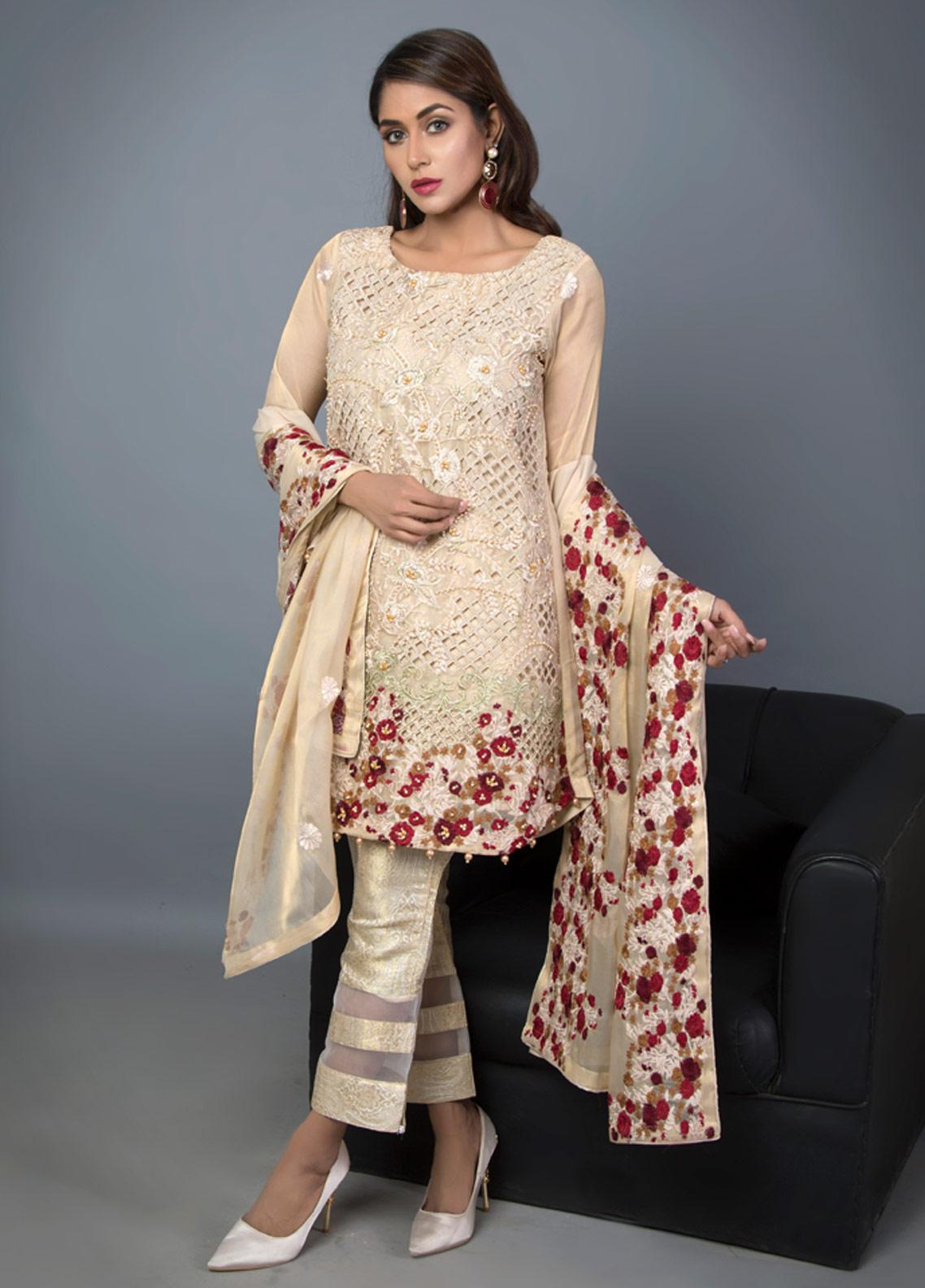 Kaara Embroidered Chiffon Stitched 2 Piece Suit KR-509 Golden