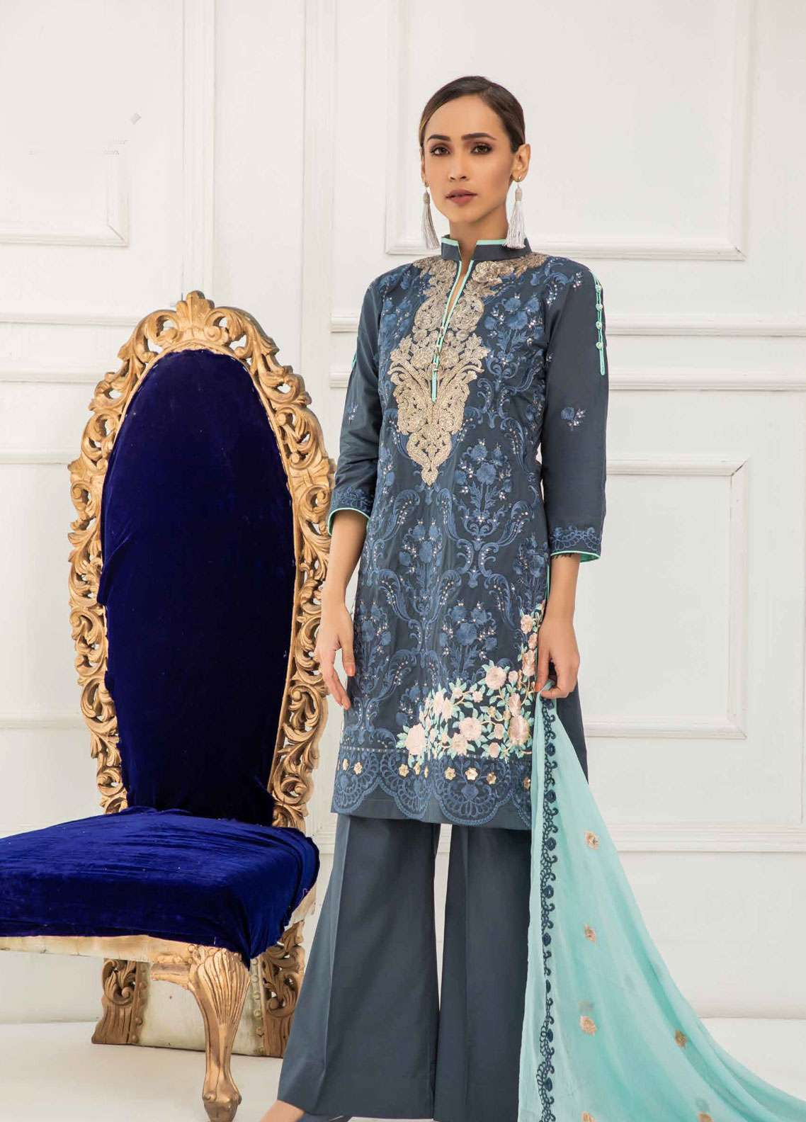 Kalyan By ZS Embroidered Lawn Unstitched 3 Piece Suit KED19EC 04 - Exclusive Collection