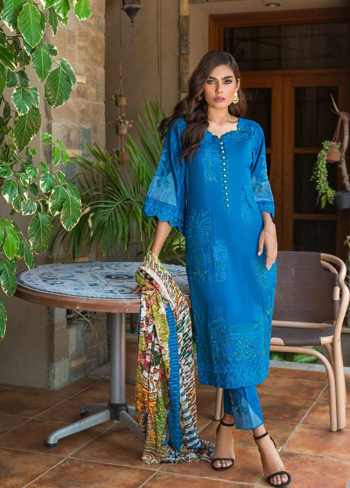 Kalyan By ZS Embroidered Lawn Unstitched 3 Piece Suit KLY19-F3 01 - Festive Collection