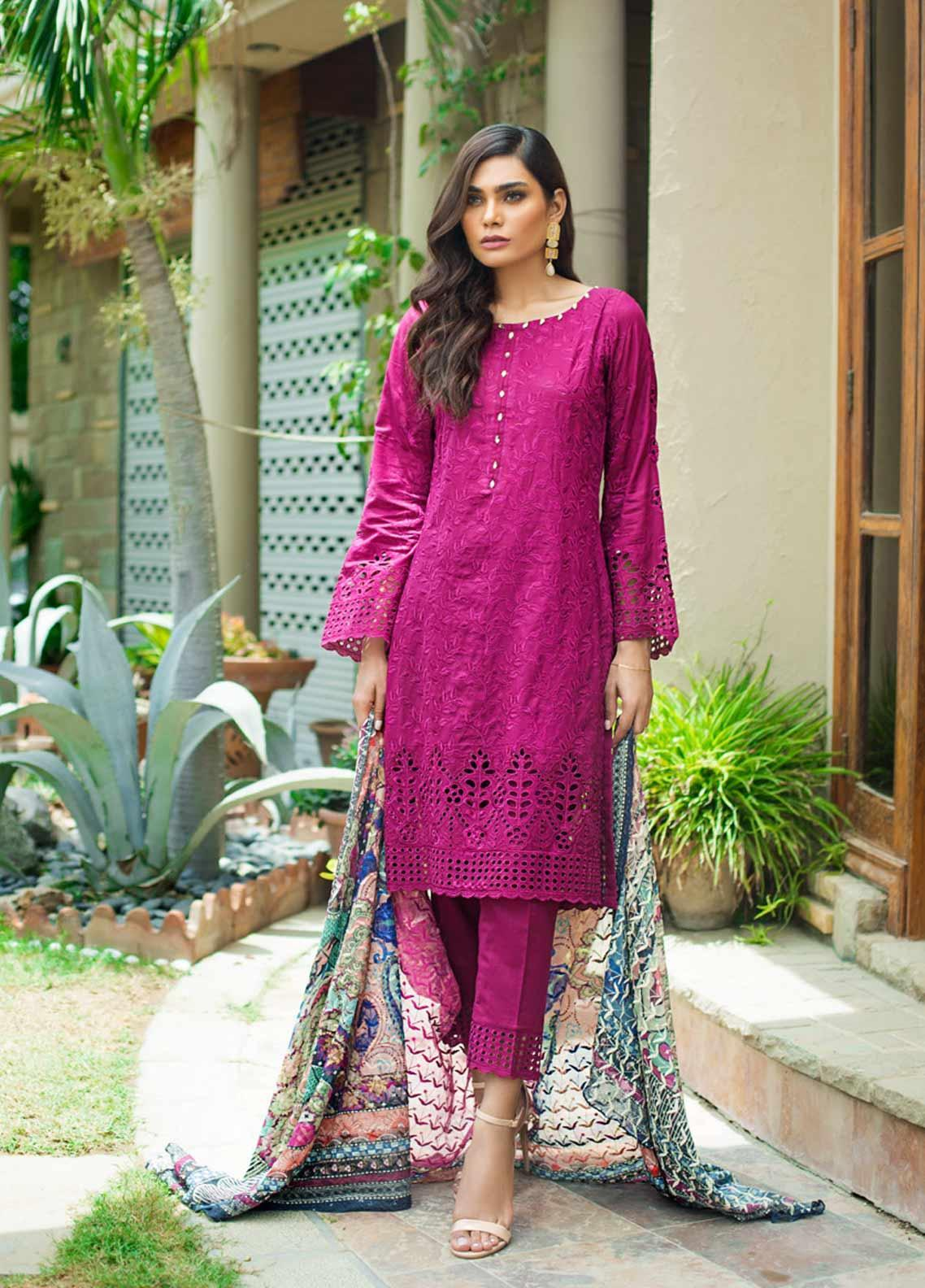 Kalyan By ZS Embroidered Schiffli Unstitched 3 Piece Suit KLY19-F3 02 - Festive Collection